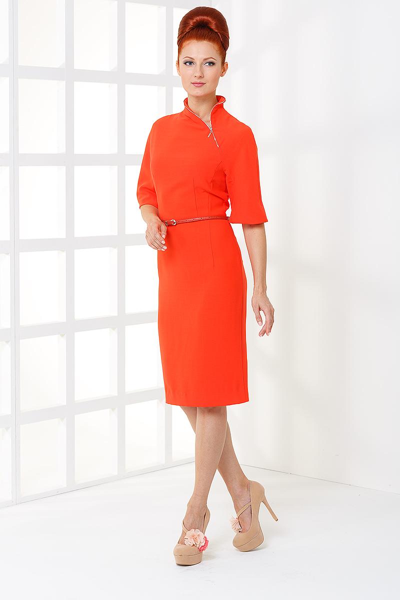ПлатьеПлатья<br>Женское платье с фигурной горловиной и рукавами 3/4. Модель выполнена из плотного трикотажа. Отличный выбор для любого случая.  Цвет: оранжевый<br><br>Воротник: Фантазийный<br>По образу: Город,Свидание<br>По рисунку: Однотонные<br>По сезону: Весна,Осень<br>По силуэту: Полуприталенные<br>По форме: Платье - футляр<br>По материалу: Трикотаж<br>По стилю: Повседневный стиль<br>По длине: Ниже колена<br>Рукав: До локтя<br>Размер : 42<br>Материал: Трикотаж<br>Количество в наличии: 2