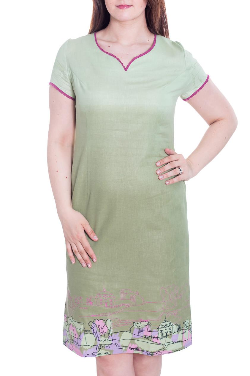 ПлатьеПлатья<br>Летнее женское платье полуприталенного силуэта. Выполнено из приятной к телу льняной ткани. Модель украшена интересным принтом.  Цвет: зеленый, салатовый, мультицвет  Рост девушки-фотомодели 180 см<br><br>По длине: До колена<br>По материалу: Лен<br>По рисунку: С принтом,Цветные<br>По силуэту: Полуприталенные<br>По стилю: Летний стиль,Повседневный стиль<br>По форме: Платье - трапеция<br>По элементам: С разрезом<br>Разрез: Короткий<br>Рукав: Короткий рукав<br>По сезону: Лето<br>Горловина: Фигурная горловина<br>Размер : 50<br>Материал: Лен<br>Количество в наличии: 2