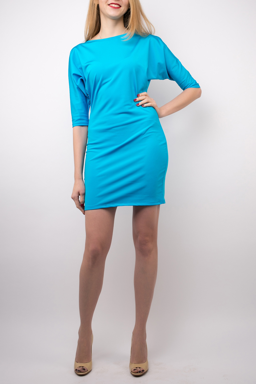 ПлатьеПлатья<br>Соблазнительное платье ярко-голубого цвета с рукавом quot;летучая мышьquot; и облегающим низом. Высокая прочность и отличный внешний вид ткани прекрасно дополняют лаконичность модели.  Добавьте в свой гардероб яркости, ведь зима не повод для тоски и хандры   Длина изделия по спинке 84 см.  В изделии использованы цвета: голубой  Ростовка изделия 161-170 см.<br><br>Горловина: Лодочка<br>По длине: До колена<br>По материалу: Трикотаж<br>По рисунку: Однотонные<br>По силуэту: Полуприталенные<br>По стилю: Кэжуал,Повседневный стиль<br>По форме: Платье - футляр<br>Рукав: До локтя<br>По сезону: Осень,Весна<br>Размер : 42,44,46,48<br>Материал: Полиэстер<br>Количество в наличии: 4