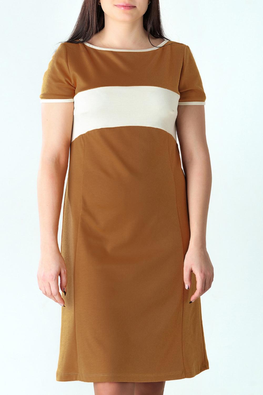 ПлатьеПлатья<br>Повседневное женское платье из приятного трикотажа. Короткие рукава. Цвет: коричневый, белый.<br><br>Горловина: С- горловина<br>По длине: Ниже колена<br>По материалу: Вискоза,Трикотаж<br>По сезону: Лето<br>По силуэту: Полуприталенные<br>По стилю: Офисный стиль,Повседневный стиль<br>По элементам: С декором,С завышенной талией<br>Рукав: Короткий рукав<br>По рисунку: Цветные<br>По форме: Платье - трапеция<br>Размер : 46<br>Материал: Трикотаж<br>Количество в наличии: 2