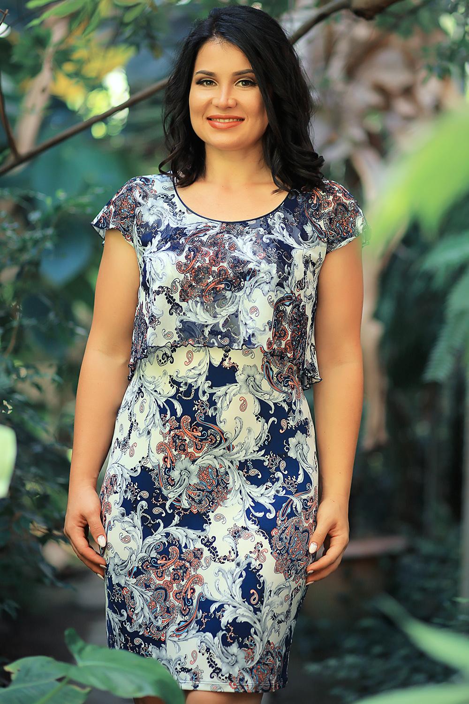 ПлатьеПлатья<br>Нарядное женское платье с круглой горловиной и короткими рукавами. Модель выполнена из приятного трикотажа и воздушного шифона. Отличный выбор для любого случая.  В изделии использованы цвета: белый, синий, коралловый, серый  Параметры размеров: 44 размер - обхват груди 84 см., обхват талии 72 см., обхват бедер 97 см. 46 размер - обхват груди 92 см., обхват талии 76 см., обхват бедер 100 см. 48 размер - обхват груди 96 см., обхват талии 80 см., обхват бедер 103 см. 50 размер - обхват груди 100 см., обхват талии 84 см., обхват бедер 106 см. 52 размер - обхват груди 104 см., обхват талии 88 см., обхват бедер 109 см. 54 размер - обхват груди 110 см., обхват талии 94,5 см., обхват бедер 114 см. 56 размер - обхват груди 116 см., обхват талии 101 см., обхват бедер 119 см. 58 размер - обхват груди 122 см., обхват талии 107,5 см., обхват бедер 124 см. 60 размер - обхват груди 128 см., обхват талии 114 см., обхват бедер 129 см.  Ростовка изделия 168 см.<br><br>Горловина: С- горловина<br>По длине: До колена<br>По материалу: Трикотаж,Шифон<br>По рисунку: С принтом,Цветные,Этнические<br>По сезону: Весна,Зима,Лето,Осень,Всесезон<br>По силуэту: Приталенные<br>По стилю: Нарядный стиль,Повседневный стиль<br>По форме: Платье - футляр<br>Рукав: Короткий рукав<br>Размер : 50,54,56<br>Материал: Холодное масло + Шифон<br>Количество в наличии: 3