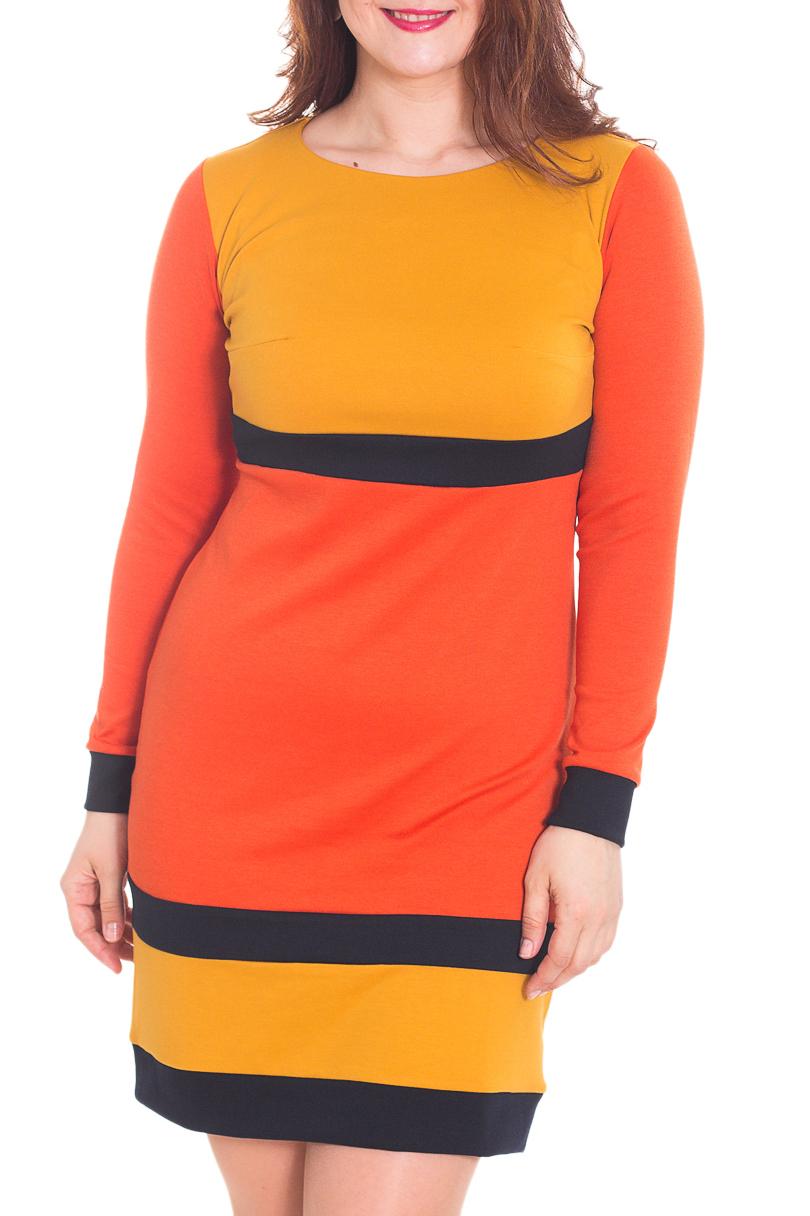 ПлатьеПлатья<br>Стильное платье из теплого трикотажа джерси с оригинальной комбинацией однотонных полосок.  Платье очень практичное, можно носить весной и в прохладный летний день. Трикотаж очень приятный к телу. Цветовая гамма очень тёплая, радужная. В таком платье Вы не останетесь незамеченной  Длина в 46 - 48 размерах -102 см, в 50-54 размерах - 107 см.  Цвет: желтый, оранжевый, черный  Рост девушки-фотомодели 180 см<br><br>Горловина: С- горловина<br>По длине: До колена<br>По материалу: Трикотаж<br>По образу: Город,Свидание<br>По рисунку: В полоску,Цветные<br>По стилю: Повседневный стиль,Кэжуал<br>По форме: Платье - футляр<br>Рукав: Длинный рукав<br>По сезону: Осень,Зима<br>По силуэту: Приталенные<br>По элементам: С манжетами<br>Размер : 50<br>Материал: Джерси<br>Количество в наличии: 1