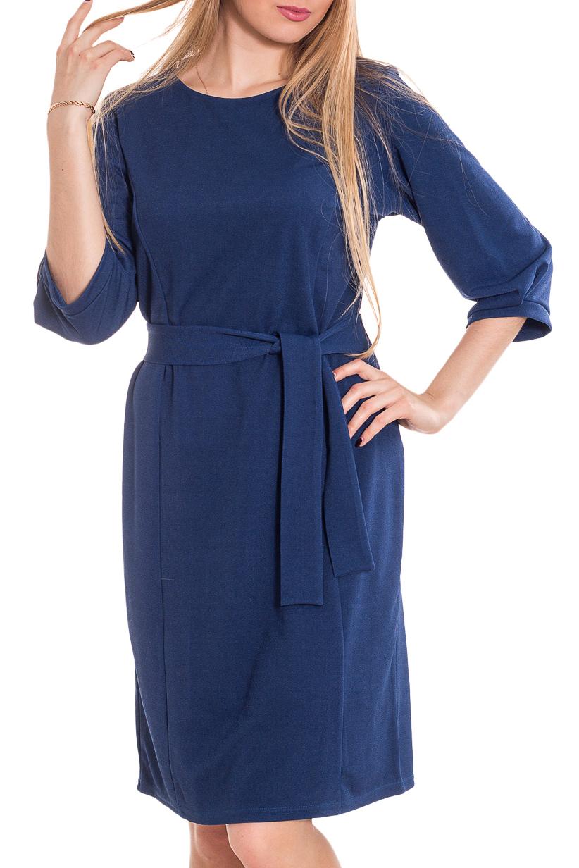 ПлатьеПлатья<br>Повседневное платье свободного кроя с рукавом - реглан три четверти на манжете, круглый вырез горловины обработан широким кантом. Изделие выполнено из комфортного трикотажа.   Платье без пояса.  Цвет: синий  Рост девушки-фотомодели 170 см.<br><br>Горловина: С- горловина<br>По длине: До колена<br>По материалу: Тканевые<br>По рисунку: Однотонные<br>По силуэту: Полуприталенные<br>По стилю: Офисный стиль,Повседневный стиль<br>Рукав: Рукав три четверти<br>По сезону: Осень,Весна,Зима<br>Размер : 44-46<br>Материал: Костюмно-плательная ткань<br>Количество в наличии: 2