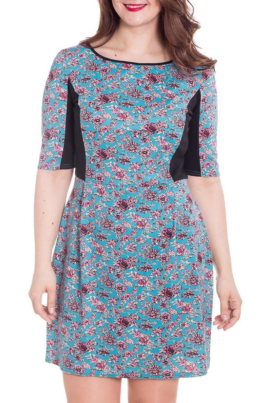 ПлатьеПлатья<br>Красивое платье с V-образной горловиной и рукавами до локтя. Модель выполнена из приятного материала. Отличный выбор для повседневного гардероба. Платье дополнено поясом.  Цвет: голубой, розовый, черный  Рост девушки-фотомодели 180 см.<br><br>Горловина: С- горловина<br>По длине: До колена<br>По материалу: Вискоза,Трикотаж<br>По образу: Город,Свидание<br>По рисунку: Растительные мотивы,С принтом,Цветные,Цветочные<br>По силуэту: Полуприталенные<br>По стилю: Повседневный стиль<br>Рукав: До локтя<br>По форме: Платье - футляр<br>По сезону: Лето<br>Размер : 50<br>Материал: Трикотаж<br>Количество в наличии: 1