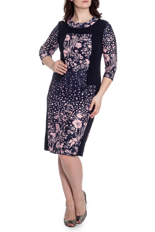ПлатьеПлатья<br>Цветное платье с круглой горловиной и рукавами 3/4. Модель выполнена из приятного трикотажа. Отличный выбор для любого случая.  В изделии использованы цвета: темно-синий, розовый  Рост девушки-фотомодели 180 см.<br><br>Горловина: С- горловина<br>По силуэту: Приталенные<br>По стилю: Повседневный стиль<br>По элементам: С декором<br>Рукав: Рукав три четверти<br>По длине: Ниже колена<br>По материалу: Трикотаж<br>По рисунку: В горошек,Растительные мотивы,С принтом,Цветные,Цветочные<br>По сезону: Зима,Осень,Весна<br>По форме: Платье - футляр<br>Размер : 50,54,56<br>Материал: Плательная ткань<br>Количество в наличии: 3
