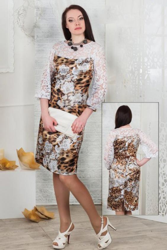 ПлатьеПлатья<br>Платье из хлопка-сатина со стрейчем полуприлегающего силуэта. Верх выполнен  из  белоснежного гипюра, который повторяет рисунок на ткани.   Длина 103 см в 46-50 размерах и 108 см в 52-56 размерах.  Цвет: белый, бежевый, коричневый<br><br>Горловина: С- горловина<br>По длине: До колена<br>По материалу: Атлас,Гипюр<br>По образу: Свидание<br>По рисунку: Леопард,С принтом,Цветные<br>По сезону: Весна,Зима,Лето,Осень,Всесезон<br>По силуэту: Полуприталенные<br>По стилю: Нарядный стиль<br>По форме: Платье - футляр<br>Рукав: Рукав три четверти<br>Размер : 46,48,52<br>Материал: Атлас + Гипюр<br>Количество в наличии: 6