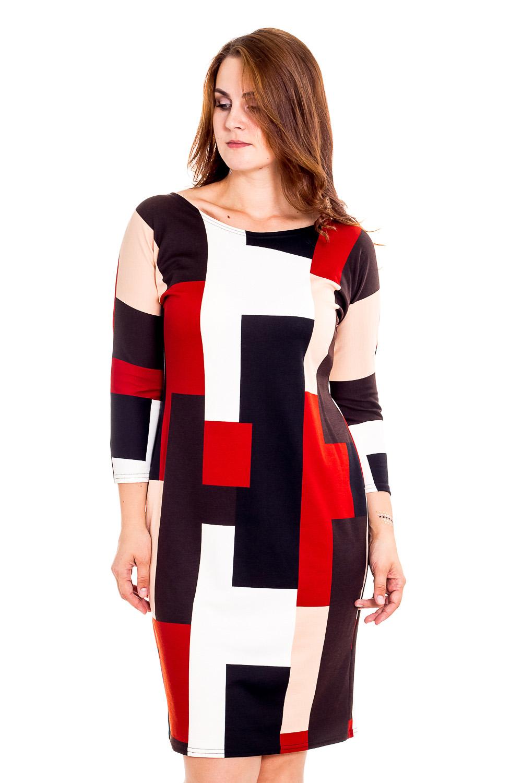 ПлатьеПлатья<br>Цветное платье с закругленной горловиной и рукавами 3/4. Модель выполнена из приятного материала. Отличный выбор для повседневного гардероба.  В изделии использованы цвета: черный, коричневый, кирпичный, бежевый, белый  Рост девушки-фотомодели 180 см.<br><br>Горловина: С- горловина<br>По длине: До колена<br>По материалу: Вискоза,Трикотаж<br>По образу: Город<br>По рисунку: С принтом,Цветные<br>По силуэту: Полуприталенные<br>По стилю: Повседневный стиль<br>По форме: Платье - футляр<br>Рукав: Рукав три четверти<br>По сезону: Осень,Весна<br>Размер : 48,50,52,54<br>Материал: Джерси<br>Количество в наличии: 2
