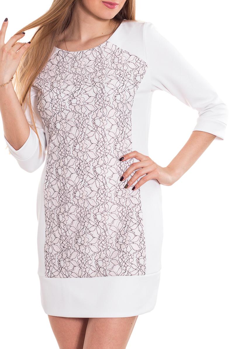 ПлатьеПлатья<br>Великолепное платье с рукавами 3/4. Модель выполнена из приятного материала. Отличный выбор для повседневного гардероба.  Цвет: белый  Рост девушки-фотомодели 170 см.<br><br>Горловина: С- горловина<br>По длине: До колена<br>По материалу: Трикотаж<br>По образу: Город,Свидание<br>По рисунку: С принтом,Цветные<br>По силуэту: Приталенные<br>По стилю: Повседневный стиль<br>По форме: Платье - футляр<br>Рукав: Рукав три четверти<br>По сезону: Осень,Весна,Зима<br>Размер : 44-46<br>Материал: Трикотаж<br>Количество в наличии: 1