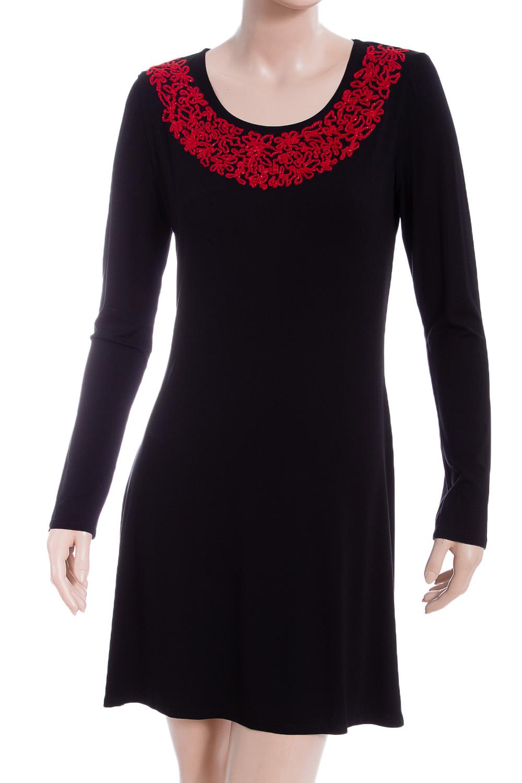 ПлатьеПлатья<br>Красивое женское платье из мягкой вискозы с декором у горловины и длинными рукавами. Отличный выбор для повседневного гардероба.  В изделии использованы цвета: черный, красный  Ростовка изделия 170 см.<br><br>Горловина: С- горловина<br>По длине: До колена<br>По материалу: Вискоза,Трикотаж<br>По рисунку: Цветные<br>По силуэту: Полуприталенные<br>По стилю: Нарядный стиль,Повседневный стиль<br>По форме: Платье - трапеция<br>По элементам: С декором<br>Рукав: Длинный рукав<br>По сезону: Осень,Весна,Зима<br>Размер : 40,44<br>Материал: Вискоза<br>Количество в наличии: 2