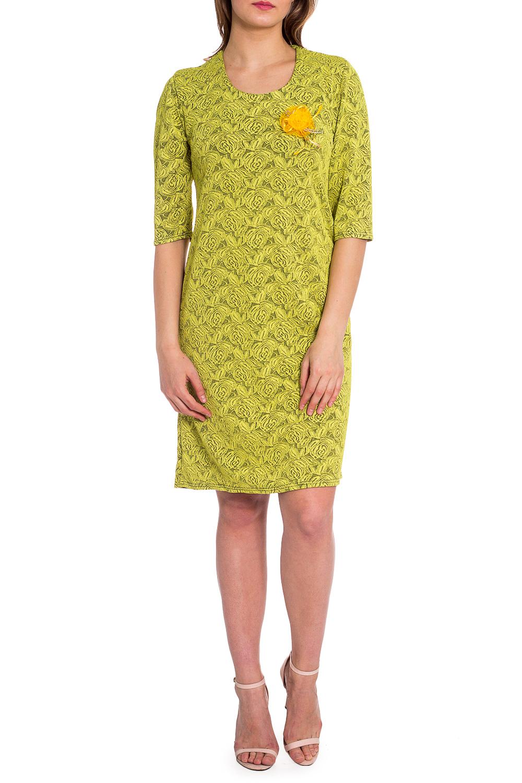 ПлатьеПлатья<br>Цветное платье с круглой горловиной и рукавами 3/4. Модель выполнена из приятного трикотажа. Отличный выбор для любого случая.  В изделии использованы цвета: салатовый, серый  Рост девушки-фотомодели 173 см.<br><br>Горловина: С- горловина<br>По длине: Ниже колена<br>По материалу: Трикотаж<br>По рисунку: Растительные мотивы,С принтом,Цветные,Цветочные<br>По сезону: Зима,Осень,Весна<br>По силуэту: Полуприталенные<br>По стилю: Повседневный стиль<br>По форме: Платье - футляр<br>По элементам: С декором<br>Рукав: Рукав три четверти<br>Размер : 50,52,56,58<br>Материал: Трикотаж<br>Количество в наличии: 4