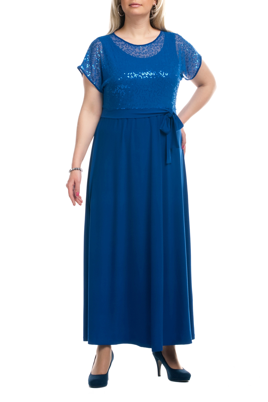 ПлатьеПлатья<br>Нарядное платье с имитацией накидки из ткани с пайетками. Модель выполнена из приятных материалов. Отличный выбор для любого торжества.  Цвет: синий  Рост девушки-фотомодели 173 см.<br><br>Горловина: С- горловина<br>По материалу: Гипюровая сетка,Трикотаж<br>По рисунку: Однотонные<br>По сезону: Весна,Всесезон,Зима,Лето,Осень<br>По силуэту: Полуприталенные<br>По стилю: Нарядный стиль,Вечерний стиль<br>Рукав: Короткий рукав<br>По длине: Макси<br>Размер : 52,54,56,60,62,64,66,68,70<br>Материал: Холодное масло + Гипюровая сетка<br>Количество в наличии: 20
