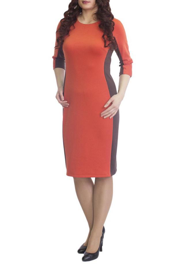 ПлатьеПлатья<br>Повседневное и в то же время элегантное платье, построенное на сочетании двух контрастных цветов и симметричном рисунке. Классический вариант для офиса. Вырез горловины круглый. Рукав 3/4. Ткань - плотный трикотаж, характеризующийся эластичностью, растяжимостью и мягкостью.   Плотность ткани 280 гр/м2  Длина изделия 100-105 см.  В изделии использованы цвета: оранжевый, коричневый  Рост девушки-фотомодели 170 см<br><br>Горловина: С- горловина<br>По длине: Ниже колена<br>По материалу: Вискоза,Трикотаж<br>По рисунку: Цветные<br>По силуэту: Приталенные<br>По стилю: Повседневный стиль<br>По форме: Платье - футляр<br>Рукав: Рукав три четверти<br>По сезону: Осень,Весна,Зима<br>Размер : 50,52,54,56,58,60<br>Материал: Трикотаж<br>Количество в наличии: 10
