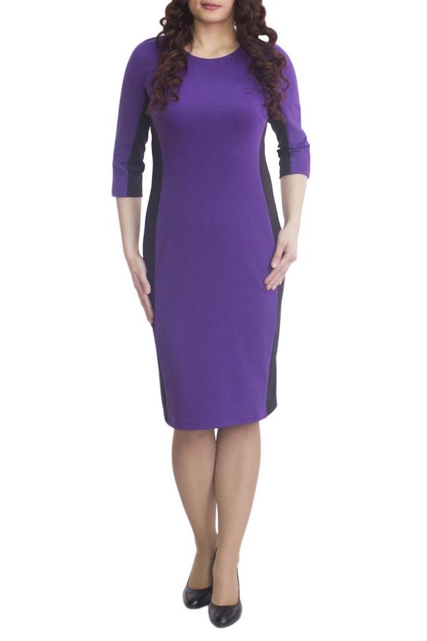 ПлатьеПлатья<br>Повседневное и в то же время элегантное платье, построенное на сочетании двух контрастных цветов и симметричном рисунке. Классический вариант для офиса. Вырез горловины круглый. Рукав 3/4. Ткань - плотный трикотаж, характеризующийся эластичностью, растяжимостью и мягкостью.   Плотность ткани 280 гр/м2  Длина изделия 100-105 см.  В изделии использованы цвета: фиолетовый, черный  Рост девушки-фотомодели 170 см<br><br>Горловина: С- горловина<br>По длине: Ниже колена<br>По материалу: Вискоза,Трикотаж<br>По рисунку: Цветные<br>По силуэту: Приталенные<br>По стилю: Повседневный стиль<br>По форме: Платье - футляр<br>Рукав: Рукав три четверти<br>По сезону: Осень,Весна<br>Размер : 52,54,56,58<br>Материал: Трикотаж<br>Количество в наличии: 7