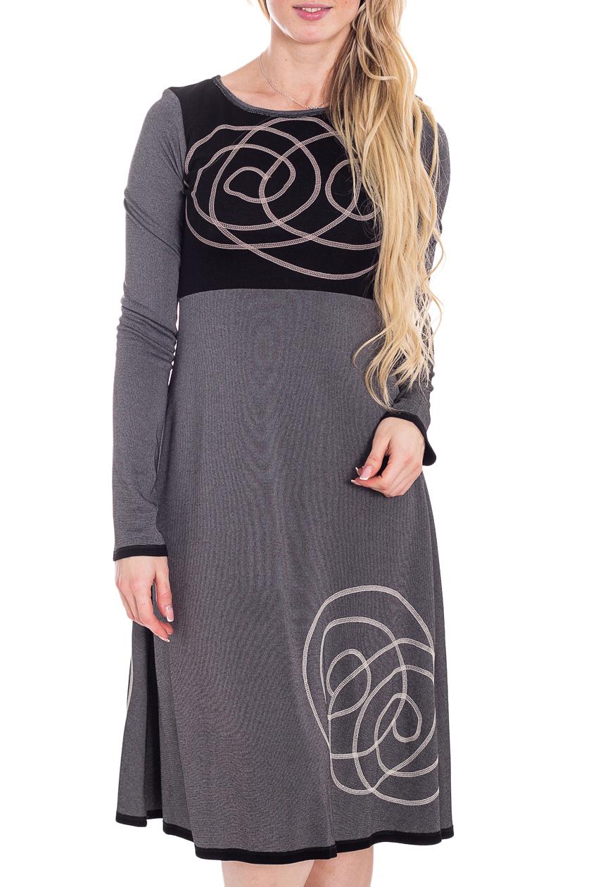 ПлатьеПлатья<br>Красивое женское платье из мягкой вискозы. Отличный выбор для повседневного гардероба.  В изделии использованы цвета: черный, серый и др.  Рост девушки-фотомодели 180 см.<br><br>Горловина: С- горловина<br>По длине: Ниже колена<br>По материалу: Вискоза,Трикотаж<br>По образу: Город,Свидание<br>По рисунку: С принтом,Цветные<br>По сезону: Осень,Зима<br>По силуэту: Полуприталенные<br>По стилю: Повседневный стиль<br>По форме: Платье - трапеция<br>По элементам: С декором<br>Рукав: Длинный рукав<br>Размер : 42,44<br>Материал: Трикотаж<br>Количество в наличии: 3