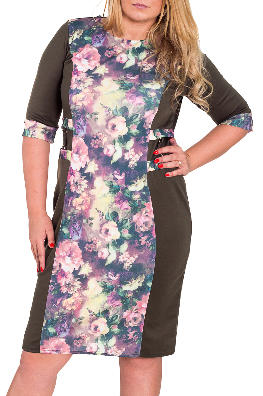 ПлатьеПлатья<br>Красивое платье с круглой горловиной и рукавами 3/4. Модель выполнена из плотного трикотажа. Отличный выбор для повседневного гардероба.  Цвет: серый, мультицвет  Рост девушки-фотомодели 170 см<br><br>Горловина: С- горловина<br>По длине: Ниже колена<br>По материалу: Трикотаж<br>По рисунку: Растительные мотивы,Цветные,Цветочные,С принтом<br>По силуэту: Полуприталенные<br>По стилю: Повседневный стиль<br>По форме: Платье - футляр<br>Рукав: Рукав три четверти<br>По сезону: Осень,Весна,Зима<br>По элементам: С манжетами<br>Размер : 50,52,54,56<br>Материал: Джерси<br>Количество в наличии: 7