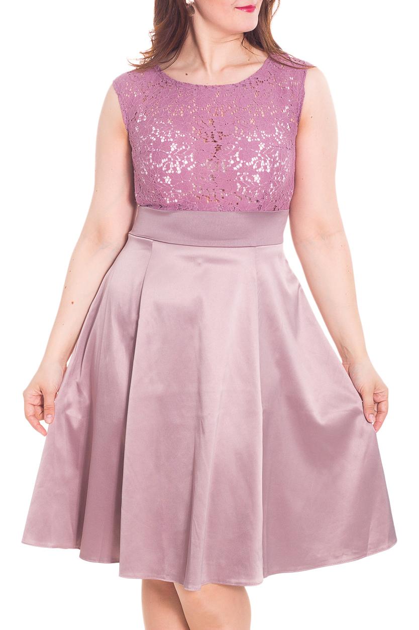 ПлатьеПлатья<br>Необычайно красивое платье отлично подойдет для коктейля, а также в летнее время года. Верх выполнен из хлопкового кружева, а юбка солнце-клеш из хлопкового сатина будет эффектно переливаться на свету. Изящные линии рельефов и открытый вырез - изюминка этой модели.  Длина около 108 см  в размерах 52-54  Цвет: розово-сиреневый  Рост девушки-фотомодели 180 см<br><br>Горловина: С- горловина<br>По длине: Ниже колена<br>По материалу: Атлас,Гипюр<br>По рисунку: Однотонные<br>По сезону: Весна,Зима,Лето,Осень,Всесезон<br>По силуэту: Полуприталенные<br>По стилю: Нарядный стиль,Повседневный стиль,Вечерний стиль<br>По форме: Платье - трапеция<br>Рукав: Без рукавов<br>Размер : 46,48,50,52<br>Материал: Атлас + Гипюр<br>Количество в наличии: 5