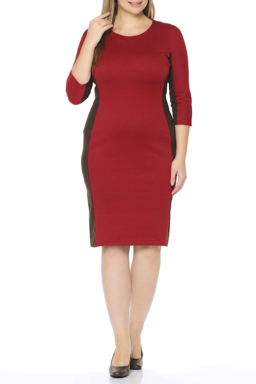 ПлатьеПлатья<br>Повседневное и в то же время элегантное платье, построенное на сочетании двух контрастных цветов и симметричном рисунке. Классический вариант для офиса. Ткань - плотный трикотаж, характеризующийся эластичностью, растяжимостью и мягкостью.  Длина изделия по спинке 100 см.  В изделии использованы цвета: терракотовый, коричневый  Рост девушки-фотомодели 170 см.<br><br>Горловина: С- горловина<br>По длине: Ниже колена<br>По материалу: Вискоза,Трикотаж<br>По рисунку: Цветные<br>По стилю: Повседневный стиль<br>По форме: Платье - футляр<br>Рукав: Рукав три четверти<br>По силуэту: Полуприталенные<br>По сезону: Осень,Весна,Зима<br>Размер : 50,52,54,58,60<br>Материал: Трикотаж<br>Количество в наличии: 5