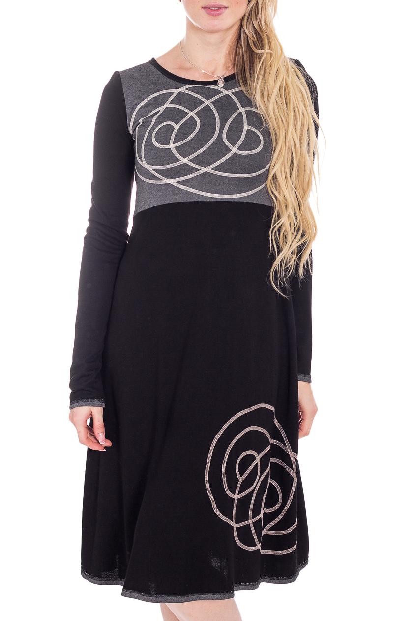 ПлатьеПлатья<br>Красивое женское платье из мягкой вискозы. Отличный выбор для повседневного гардероба.  В изделии использованы цвета: черный, серый и др.  Рост девушки-фотомодели 180 см.<br><br>Горловина: С- горловина<br>По длине: Ниже колена<br>По материалу: Вискоза,Трикотаж<br>По рисунку: С принтом,Цветные<br>По сезону: Осень,Зима<br>По силуэту: Полуприталенные<br>По стилю: Повседневный стиль<br>По форме: Платье - трапеция<br>По элементам: С декором<br>Рукав: Длинный рукав<br>Размер : 42,44<br>Материал: Трикотаж<br>Количество в наличии: 3