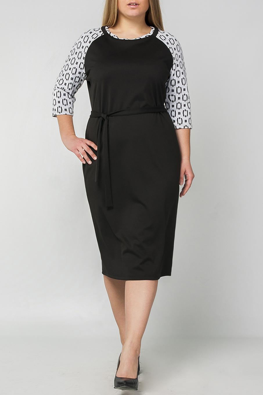 ПлатьеПлатья<br>Классическое прямое платье из плотного трикотажа, прилегающего силуэта, которое подчёркивает достоинства фигуры. Прямое платье – обязательный предмет в гардеробе каждой женщины, оно универсально. Классическое сочетание цветов делает модель более повседневным, подходящим для работы в офисе. Платье без пояса  Параметры изделия:  44 размер: обхват груди - 95 см. обхват по линии бедер - 98 см. длина изделия - 101 см.  52 размер: обхват груди - 111 см. обхват по линии бедер - 114 см. длина изделия - 113 см.  В изделии использованы цвета: черный, белый  Рост девушки-фотомодели 175 см.<br><br>Горловина: С- горловина<br>По длине: Ниже колена<br>По материалу: Трикотаж<br>По образу: Город,Офис,Свидание<br>По рисунку: Цветные<br>По силуэту: Полуприталенные<br>По стилю: Офисный стиль,Повседневный стиль<br>По форме: Платье - футляр<br>Рукав: Рукав три четверти<br>По сезону: Осень,Весна<br>Размер : 48,50,52,54,56<br>Материал: Джерси<br>Количество в наличии: 5