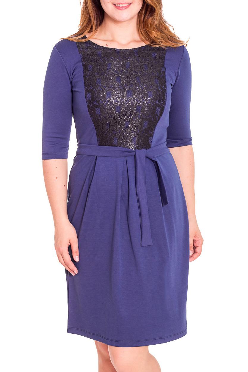 ПлатьеПлатья<br>Красивое женское платье с рукавами 3/4. Модель выполнена из приятного материала. Отличный выбор для любого случая. Пояс в комплект не входит  Цвет: синий, черный  Рост девушки-фотомодели 180 см.<br><br>Горловина: С- горловина<br>По длине: До колена<br>По материалу: Вискоза,Гипюр,Трикотаж<br>По сезону: Весна,Зима,Осень<br>По силуэту: Полуприталенные<br>По стилю: Повседневный стиль<br>По форме: Платье - футляр<br>По элементам: С декором,Со складками<br>Рукав: Рукав три четверти<br>По рисунку: Цветные<br>Размер : 52<br>Материал: Трикотаж + Гипюр<br>Количество в наличии: 1