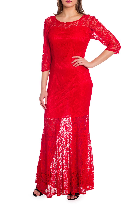 ПлатьеПлатья<br>Эффектное нарядное платье в пол. Модель выполнена из ажурного гипюра. Отличный выбор для любого торжества.  В изделии использованы цвета: красный  Рост девушки-фотомодели 173 см<br><br>Горловина: С- горловина<br>По длине: Макси<br>По материалу: Гипюр<br>По рисунку: Однотонные<br>По сезону: Весна,Зима,Лето,Осень,Всесезон<br>По силуэту: Приталенные<br>По стилю: Вечерний стиль,Нарядный стиль<br>По форме: Платье - годе<br>По элементам: С подкладом<br>Рукав: Рукав три четверти<br>Размер : 48<br>Материал: Гипюр<br>Количество в наличии: 1