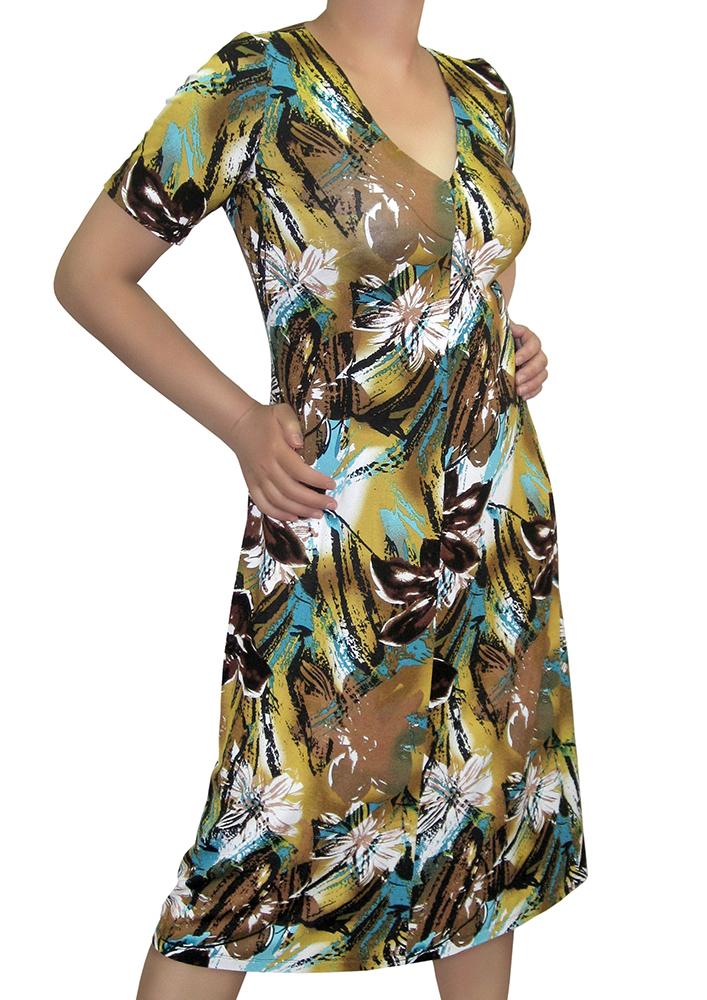 ПлатьеПлатья<br>Женское платье из вискозного трикотажного полотна, с рисунком тигровый цветок.  Приталенный силуэт, расклешенный к низу, что позволяет скрыть недостатки фигуры в области талии и бедер.  Цвет: желтый, коричневый, белый, голубой<br><br>Горловина: V- горловина<br>По длине: Миди<br>По материалу: Вискоза,Трикотаж<br>По образу: Город,Свидание<br>По рисунку: Абстракция,Растительные мотивы,Цветные,Цветочные<br>По силуэту: Полуприталенные<br>По стилю: Повседневный стиль<br>По форме: Платье - футляр<br>Рукав: Короткий рукав<br>По сезону: Лето<br>Размер : 48,50,52,54,56,58<br>Материал: Вискоза<br>Количество в наличии: 2