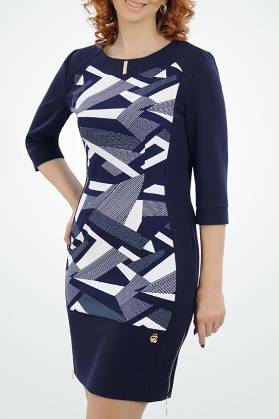 ПлатьеПлатья<br>Цветное платье с круглой горловиной и рукавами 3/4. Модель выполнена из приятного трикотажа. Отличный выбор для повседневного гардероба.  В изделии использованы цвета: синий, белый  Параметры размеров: 44 размер - обхват груди 84 см., обхват талии 72 см., обхват бедер 97 см. 46 размер - обхват груди 92 см., обхват талии 76 см., обхват бедер 100 см. 48 размер - обхват груди 96 см., обхват талии 80 см., обхват бедер 103 см. 50 размер - обхват груди 100 см., обхват талии 84 см., обхват бедер 106 см. 52 размер - обхват груди 104 см., обхват талии 88 см., обхват бедер 109 см. 54 размер - обхват груди 110 см., обхват талии 94,5 см., обхват бедер 114 см. 56 размер - обхват груди 116 см., обхват талии 101 см., обхват бедер 119 см. 58 размер - обхват груди 122 см., обхват талии 107,5 см., обхват бедер 124 см. 60 размер - обхват груди 128 см., обхват талии 114 см., обхват бедер 129 см.  Ростовка изделия 168 см.<br><br>Горловина: С- горловина<br>По длине: До колена<br>По материалу: Трикотаж<br>По образу: Город,Свидание<br>По рисунку: С принтом,Цветные<br>По силуэту: Приталенные<br>По стилю: Повседневный стиль<br>По форме: Платье - футляр<br>Рукав: Рукав три четверти<br>По сезону: Осень,Весна<br>Размер : 48<br>Материал: Трикотаж<br>Количество в наличии: 1