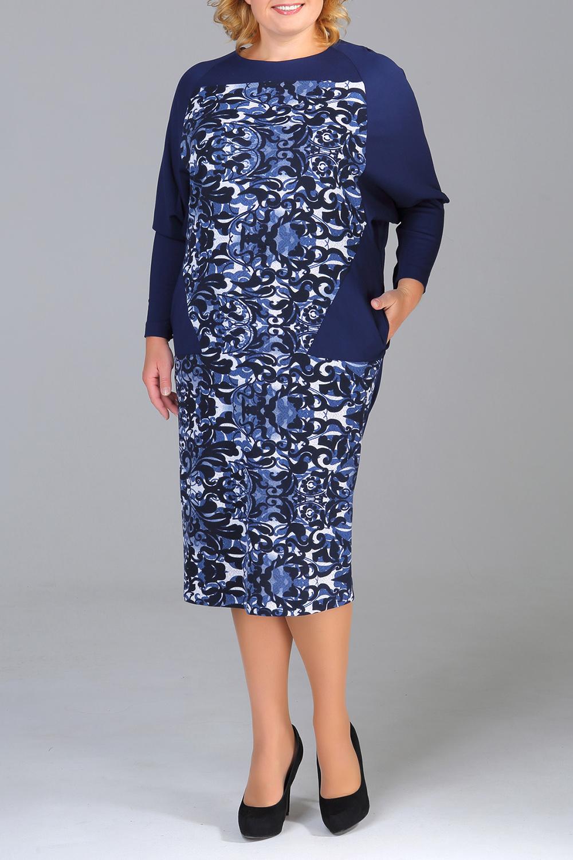 ПлатьеПлатья<br>Красивое платье длиной ниже колена. Модель выполнена из плотного материала. Отличный выбор для любого случая.   В изделии использованы цвета: синий, голубой, черный, белый  Ростовка изделия 170 см.<br><br>Горловина: С- горловина<br>По длине: Ниже колена<br>По материалу: Трикотаж<br>По рисунку: С принтом,Цветные<br>По силуэту: Полуприталенные<br>По стилю: Повседневный стиль<br>По форме: Платье - футляр<br>По элементам: С карманами<br>Рукав: Рукав три четверти<br>По сезону: Осень,Весна,Зима<br>Размер : 50,52,54,56,58,60<br>Материал: Джерси<br>Количество в наличии: 6