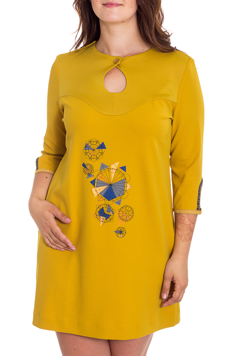 ПлатьеПлатья<br>Интересное платье с декоративными вырезами. Модель выполнена из приятного материала. Отличный выбор для повседневного гардероба.  В изделии использованы цвета: горчичный, синий  Рост девушки-фотомодели 180 см<br><br>Горловина: С- горловина<br>По длине: До колена<br>По материалу: Тканевые<br>По рисунку: С принтом,Цветные<br>По силуэту: Прямые<br>По стилю: Повседневный стиль<br>По форме: Платье - трапеция<br>По элементам: С вырезом,С декором<br>Рукав: Рукав три четверти<br>По сезону: Осень,Весна,Зима<br>Размер : 44,46,48,50,52<br>Материал: Плательная ткань<br>Количество в наличии: 5