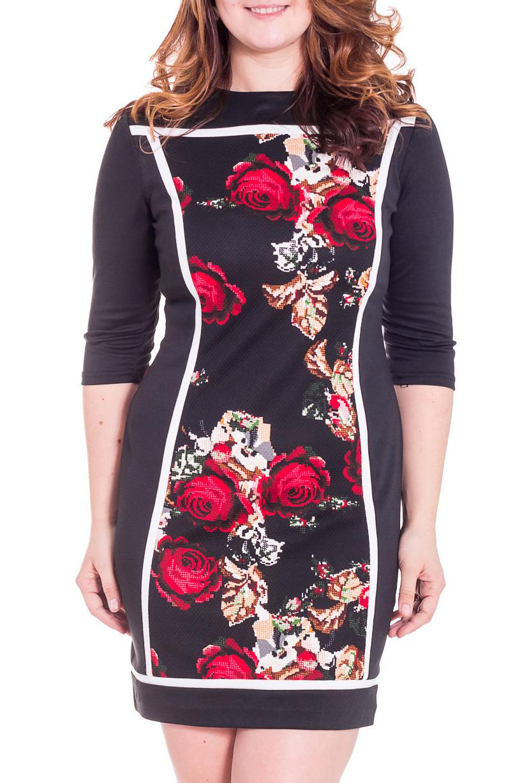 ПлатьеПлатья<br>Молодежное платье, приталенного силуэта из превосходного трикотажа, застежка расположена сзади по среднему шву на потайную тесьму молнию. Прекрасная расцветка, посадка и декоративная отделка белыми контрастными узкими полосами в данной модели, позволит создать элегантный образ в повседневной жизни, а также поможет не только хорошо выглядеть, но и комфортно чувствовать себя в течении дня.  Цвет: черный, красный, бежевый  Рост девушки-фотомодели 180 см.<br><br>Горловина: С- горловина<br>По длине: До колена<br>По материалу: Вискоза,Трикотаж<br>По рисунку: Растительные мотивы,Цветные,Цветочные,С принтом<br>По сезону: Весна,Осень,Зима<br>По стилю: Повседневный стиль<br>По форме: Платье - футляр<br>Рукав: Рукав три четверти<br>По силуэту: Приталенные<br>По элементам: С декором<br>Размер : 44,46,50<br>Материал: Трикотаж<br>Количество в наличии: 6