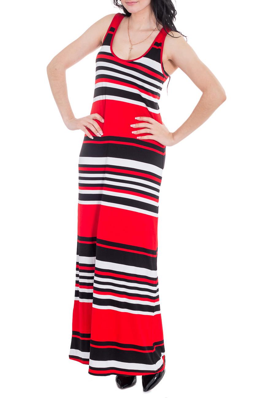ПлатьеПлатья<br>Повседневное летнее платье в пол. Модель выполнена из приятного трикотажа. Отличный выбор для повседневного гардероба.  Цвет: красный, черный, белый  Рост девушки-фотомодели 170 см<br><br>Горловина: С- горловина<br>По длине: Макси<br>По материалу: Вискоза,Трикотаж<br>По рисунку: В полоску,С принтом,Цветные<br>По силуэту: Полуприталенные<br>По стилю: Летний стиль,Молодежный стиль,Повседневный стиль<br>Рукав: Без рукавов<br>По сезону: Лето<br>Размер : 46<br>Материал: Трикотаж<br>Количество в наличии: 1