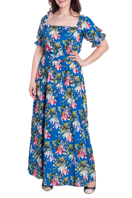 ПлатьеПлатья<br>Цветное платье в пол с рукавами до локтя. Модель выполнена из приятного материала. Отличный выбор для повседневного гардероба.  В изделии использованы цвета: синий и др.  Параметры размеров: 44 размер - обхват груди 84 см., обхват талии 72 см., обхват бедер 97 см. 46 размер - обхват груди 92 см., обхват талии 76 см., обхват бедер 100 см. 48 размер - обхват груди 96 см., обхват талии 80 см., обхват бедер 103 см. 50 размер - обхват груди 100 см., обхват талии 84 см., обхват бедер 106 см. 52 размер - обхват груди 104 см., обхват талии 88 см., обхват бедер 109 см. 54 размер - обхват груди 110 см., обхват талии 94,5 см., обхват бедер 114 см. 56 размер - обхват груди 116 см., обхват талии 101 см., обхват бедер 119 см. 58 размер - обхват груди 122 см., обхват талии 107,5 см., обхват бедер 124 см. 60 размер - обхват груди 128 см., обхват талии 114 см., обхват бедер 129 см.  Рост девушки-фотомодели 180 см<br><br>Горловина: Квадратная горловина<br>По длине: Макси<br>По материалу: Тканевые<br>По рисунку: Растительные мотивы,С принтом,Цветные,Цветочные<br>По силуэту: Полуприталенные<br>По стилю: Летний стиль,Повседневный стиль<br>По форме: Платье - трапеция<br>По элементам: С воланами и рюшами,С декором<br>Рукав: До локтя<br>По сезону: Лето<br>Размер : 48,50,52,54<br>Материал: Плательная ткань<br>Количество в наличии: 4