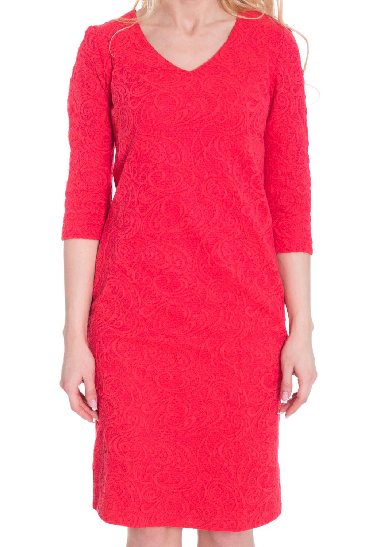 ПлатьеПлатья<br>Эффектное женское платье с V-образной горловиной и рукавами 3/4. Модель выполнена из фактурного жаккарда. Отличный выбор для любого случая.  Цвет: коралловый  Рост девушки-фотомодели 170 см.<br><br>Горловина: V- горловина<br>По длине: Ниже колена<br>По материалу: Вискоза,Жаккард<br>По рисунку: Однотонные,Фактурный рисунок<br>По сезону: Весна,Всесезон,Зима,Лето,Осень<br>По силуэту: Полуприталенные<br>По стилю: Нарядный стиль,Повседневный стиль<br>По форме: Платье - футляр<br>Рукав: Рукав три четверти<br>Размер : 44,46,54<br>Материал: Жаккард<br>Количество в наличии: 3