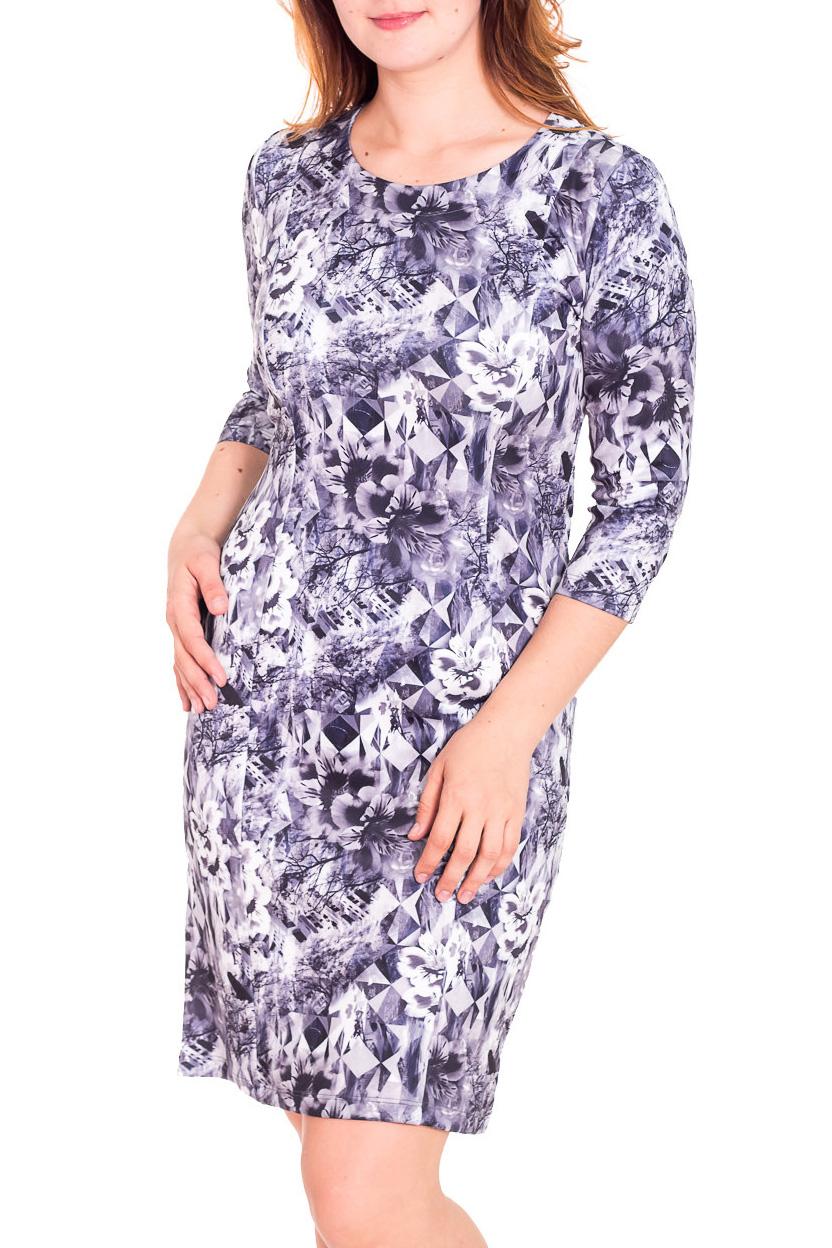 ПлатьеПлатья<br>Красивое женское платье с круглой горловиной и рукавами 3/4. Модель выполнена из приятного трикотажа. Отличный выбор для повседневного гардероба.  Цвет: иссиня-серый, белый  Рост девушки-фотомодели 180 см.<br><br>Горловина: С- горловина<br>По длине: До колена<br>По материалу: Трикотаж<br>По рисунку: Абстракция,Цветные,Растительные мотивы,С принтом,Цветочные<br>По сезону: Весна,Осень,Зима<br>По стилю: Повседневный стиль<br>По форме: Платье - футляр<br>Рукав: Рукав три четверти<br>По силуэту: Приталенные<br>Размер : 48,50,52<br>Материал: Трикотаж<br>Количество в наличии: 6
