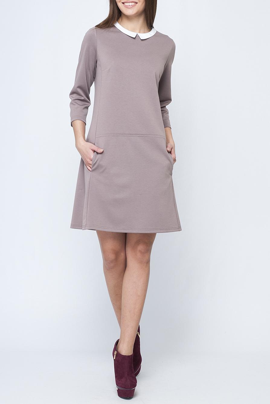 ПлатьеПлатья<br>Модное женское платье нежного бежевого цвета, с контрастным отложным воротничком, по спинке изделия застежка-пуговица, длина чуть выше колена.   Параметры изделия: 44 размер: обхват по линии груди - 97 см, обхват по линии бедер - 105 см, длина по спинке - 89,5 см, длина рукава - 45 см;  52 размер: обхват по линии груди - 113 см, обхват по линии бедер - 117 см, длина по спинке - 97 см, длина рукава - 48 см  В изделии использованы цвета: бежевый, белый  Рост девушки-фотомодели 170 см.<br><br>Воротник: Отложной<br>Горловина: С- горловина<br>По длине: До колена<br>По материалу: Трикотаж<br>По образу: Город,Офис,Свидание<br>По рисунку: Однотонные<br>По силуэту: Полуприталенные<br>По стилю: Офисный стиль,Повседневный стиль<br>По форме: Платье - трапеция<br>По элементам: С карманами<br>Рукав: Рукав три четверти<br>По сезону: Осень,Весна<br>Размер : 40,44,48,50<br>Материал: Джерси<br>Количество в наличии: 4