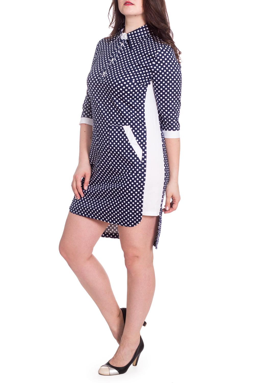 ПлатьеПлатья<br>Милое платье в горошек с рубашечным воротником. Модель выполнена из приятного материала. Отличный выбор для любого случая.Изделие маломерит на 1 размер.В изделии использованы цвета: синий, белыйРостовка изделия 168 см.Параметры размеров:44 размер - обхват груди 84 см., обхват талии 72 см., обхват бедер 97 см.46 размер - обхват груди 92 см., обхват талии 76 см., обхват бедер 100 см.48 размер - обхват груди 96 см., обхват талии 80 см., обхват бедер 103 см.50 размер - обхват груди 100 см., обхват талии 84 см., обхват бедер 106 см.52 размер - обхват груди 104 см., обхват талии 88 см., обхват бедер 109 см.54 размер - обхват груди 110 см., обхват талии 94,5 см., обхват бедер 114 см.56 размер - обхват груди 116 см., обхват талии 101 см., обхват бедер 119 см.58 размер - обхват груди 122 см., обхват талии 107,5 см., обхват бедер 124 см.60 размер - обхват груди 128 см., обхват талии 114 см., обхват бедер 129 см.Рост девушки-фотомодели 180 см.<br><br>Воротник: Рубашечный<br>Рукав: Рукав три четверти<br>Длина: До колена<br>Материал: Костюмные ткани,Тканевые<br>Рисунок: В горошек,С принтом,Цветные<br>Сезон: Весна,Осень<br>Силуэт: Полуприталенные<br>Стиль: Повседневный стиль<br>Форма: Платье - рубашка<br>Элементы: С карманами,С манжетами,С пуговицами,С фигурным низом<br>Размер : 48,50,52<br>Материал: Костюмно-плательная ткань<br>Количество в наличии: 3