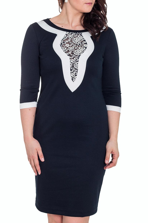 ПлатьеПлатья<br>Великолепное платье с круглой горловиной и рукавами 3/4. Модель выполнена из плотного трикотажа. Отличный выбор для повседневного гардероба.  Цвет: синий, белый  Рост девушки-фотомодели 180 см.<br><br>Горловина: С- горловина<br>По материалу: Вискоза,Трикотаж<br>По стилю: Нарядный стиль<br>По форме: Платье - футляр<br>По элементам: С декором<br>Рукав: Рукав три четверти<br>По сезону: Весна,Осень,Зима<br>По силуэту: Приталенные<br>По длине: До колена<br>По рисунку: Цветные<br>Размер : 48<br>Материал: Джерси<br>Количество в наличии: 1