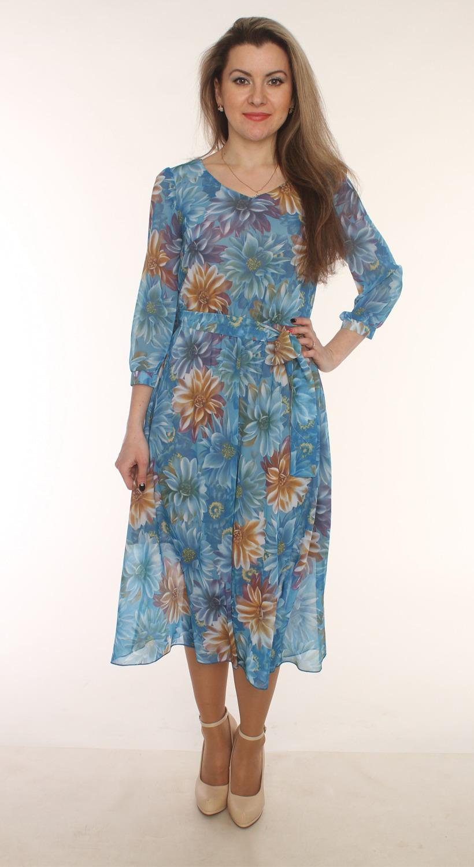 ПлатьеПлатья<br>Очаровательное платье с рукавами 3/4. Модель выполнена из воздушного шифона с цветочным принтом. Отличный выбор для любого случая.  Цвет: голубой, бежевый  Длина изделия 110 см  Длина рукава 44 см   Рост девушки-фотомодели 163 см<br><br>По образу: Город,Свидание<br>По стилю: Нарядный стиль<br>По материалу: Вискоза,Шифон<br>По рисунку: Растительные мотивы,Цветные,Цветочные<br>По сезону: Осень,Весна,Всесезон,Зима,Лето<br>По силуэту: Полуприталенные<br>По форме: Платье - трапеция<br>По длине: Миди,Ниже колена<br>Рукав: Рукав три четверти<br>Горловина: V- горловина<br>Размер: 44,46,48,50,52,54<br>Материал: 50% вискоза 50% полиэстер<br>Количество в наличии: 6