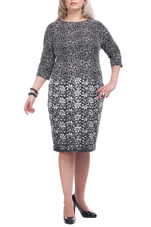 ПлатьеПлатья<br>Повседневное платье с круглой горловиной и рукавами 3/4. Модель выполнена из плотного трикотажа. Отличный выбор для повседневного гардероба.  Цвет: черный, белый  Рост девушки-фотомодели 173 см.<br><br>Горловина: С- горловина<br>По длине: Ниже колена<br>По материалу: Вискоза,Трикотаж<br>По рисунку: Растительные мотивы,Цветные,Цветочные<br>По силуэту: Полуприталенные<br>По стилю: Повседневный стиль<br>По форме: Платье - футляр<br>Рукав: Рукав три четверти<br>По сезону: Осень,Весна,Зима<br>Размер : 52,66,68<br>Материал: Джерси<br>Количество в наличии: 5
