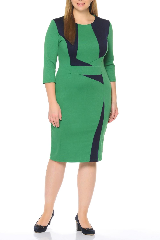 ПлатьеПлатья<br>Элегантное платье построенное на сочетании двух контрастных цветов и ассиметричном рисунке. Классический вариант для офиса. Вырез горловины круглый. Рукав 3/4. Ткань - плотный трикотаж, характеризующийся эластичностью, растяжимостью и мягкостью.   Плотность ткани 280 гр/м2  Длина изделия 100-105 см.  В изделии использованы цвета: зеленый, синий  Рост девушки-фотомодели 170 см<br><br>Горловина: С- горловина<br>По длине: Ниже колена<br>По материалу: Вискоза,Трикотаж<br>По рисунку: Цветные<br>По силуэту: Приталенные<br>По стилю: Повседневный стиль<br>По форме: Платье - футляр<br>Рукав: Рукав три четверти<br>По сезону: Осень,Весна,Зима<br>Размер : 50,52,56<br>Материал: Джерси<br>Количество в наличии: 3
