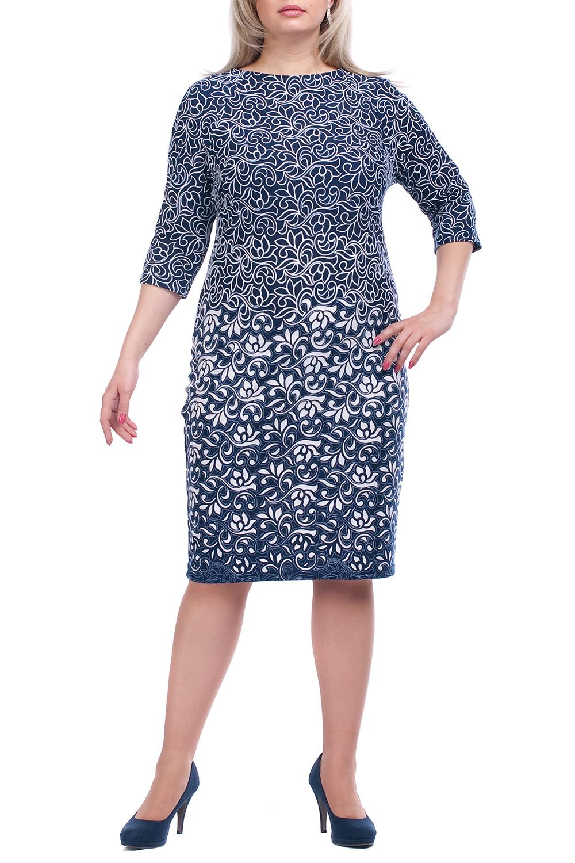 ПлатьеПлатья<br>Повседневное платье с круглой горловиной и рукавами 3/4. Модель выполнена из плотного трикотажа. Отличный выбор для повседневного гардероба.  Цвет: синий, белый  Рост девушки-фотомодели 173 см.<br><br>Горловина: С- горловина<br>По длине: Ниже колена<br>По материалу: Вискоза,Трикотаж<br>По рисунку: Растительные мотивы,Цветные,Цветочные<br>По силуэту: Полуприталенные<br>По стилю: Повседневный стиль<br>По форме: Платье - футляр<br>Рукав: Рукав три четверти<br>По сезону: Осень,Весна,Зима<br>Размер : 66,68,70<br>Материал: Джерси<br>Количество в наличии: 4