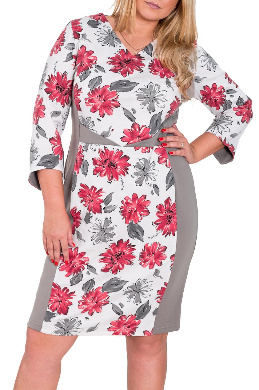 ПлатьеПлатья<br>Эффектное платье с V-образной горловиной и рукавами 3/4. Модель выполнена из плотного трикотажа. Отличный выбор для повседневного гардероба.  Цвет: серый, белый, розовый  Рост девушки-фотомодели 170 см<br><br>Горловина: V- горловина<br>По материалу: Трикотаж<br>По рисунку: Растительные мотивы,Цветные,Цветочные,С принтом<br>По силуэту: Полуприталенные,Приталенные<br>По стилю: Повседневный стиль<br>По форме: Платье - футляр<br>Рукав: Рукав три четверти<br>По сезону: Осень,Весна,Зима<br>По длине: До колена<br>Размер : 52,54,56<br>Материал: Трикотаж<br>Количество в наличии: 3