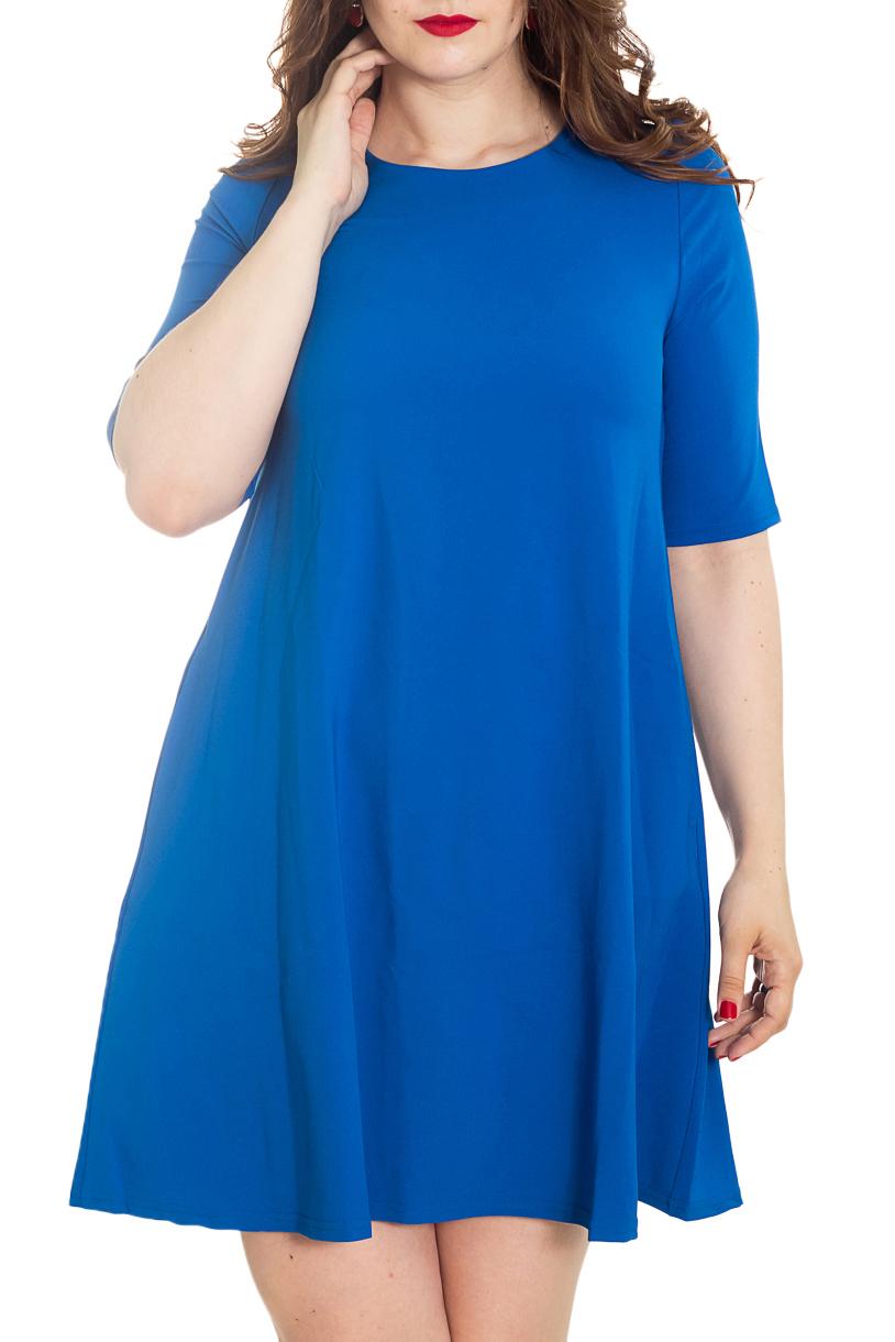 ПлатьеПлатья<br>Очаровательное платье с рукавом до локтя и V-образным вырезом на спинке. Изделие выполнено из комфортного плотного материала. В боковых швах имеются карманы.  Цвет: синий.  Рост девушки-фотомодели 180 см<br><br>Горловина: С- горловина<br>По длине: До колена<br>По материалу: Тканевые<br>По рисунку: Однотонные<br>По сезону: Весна,Зима,Лето,Осень,Всесезон<br>По силуэту: Свободные<br>По стилю: Классический стиль,Кэжуал,Офисный стиль,Повседневный стиль<br>По форме: Платье - трапеция<br>По элементам: С карманами<br>Рукав: До локтя<br>Размер : 48-50<br>Материал: Плательная ткань<br>Количество в наличии: 1