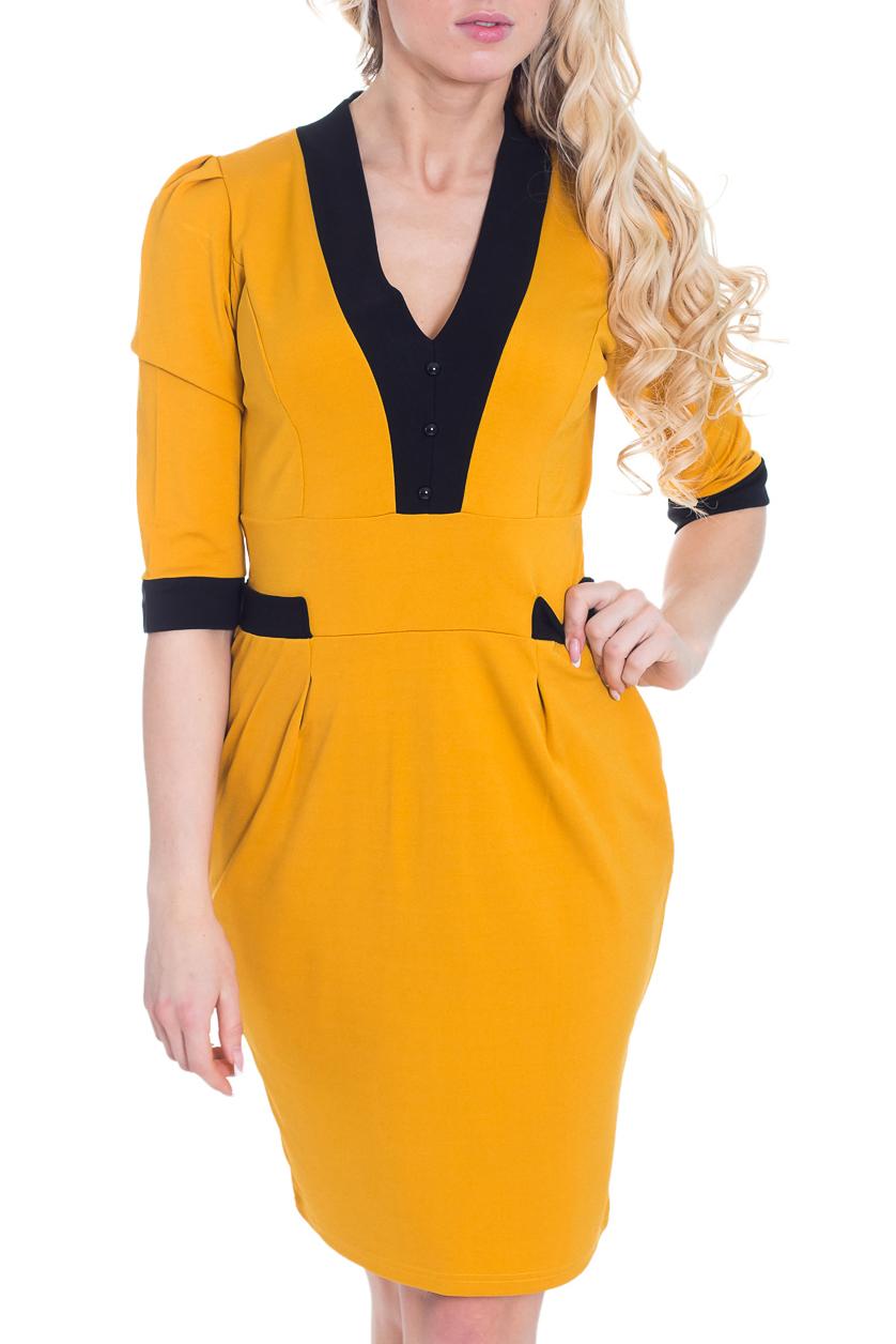 ПлатьеПлатья<br>Яркое платье с контрастным декором. Модель выполнена из приятного трикотажа. Отличный выбор для повседневного и делового гардероба.  Цвет: желтый, черный  Рост девушки-фотомодели 170 см.<br><br>Горловина: V- горловина<br>По длине: До колена<br>По материалу: Трикотаж<br>По рисунку: Цветные<br>По стилю: Повседневный стиль,Кэжуал<br>По форме: Платье - футляр<br>По элементам: С декором,Со складками,С вырезом,С заниженной талией,С манжетами<br>Рукав: До локтя<br>По сезону: Весна,Осень,Зима<br>По силуэту: Приталенные<br>Размер : 44,46<br>Материал: Трикотаж<br>Количество в наличии: 2