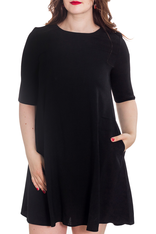 ПлатьеПлатья<br>Очаровательное платье с рукавом до локтя и V-образным вырезом на спинке. Изделие выполнено из комфортного плотного материала. В боковых швах имеются карманы.  Цвет: черный.  Рост девушки-фотомодели 180 см<br><br>Горловина: С- горловина<br>По длине: До колена<br>По материалу: Тканевые<br>По рисунку: Однотонные<br>По сезону: Весна,Зима,Лето,Осень,Всесезон<br>По силуэту: Свободные<br>По стилю: Классический стиль,Кэжуал,Офисный стиль,Повседневный стиль<br>По форме: Платье - трапеция<br>По элементам: С карманами<br>Рукав: До локтя<br>Размер : 48-50<br>Материал: Плательная ткань<br>Количество в наличии: 1