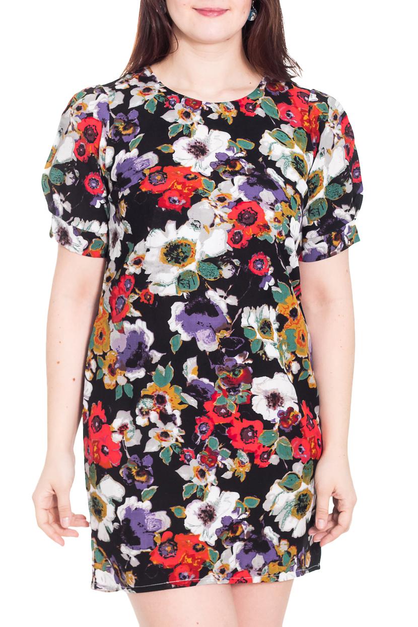 ПлатьеПлатья<br>Замечательное платье с круглой горловиной и короткими рукавами фонарик. Модель выполнена из приятного материала. Отличный выбор для повседневного гардероба.  Цвет: черный, красный, белый, сиреневый  Рост девушки-фотомодели 180 см.<br><br>Горловина: С- горловина<br>По длине: Мини<br>По материалу: Тканевые<br>По образу: Город,Свидание<br>По рисунку: Растительные мотивы,С принтом,Цветные,Цветочные<br>По сезону: Весна,Осень<br>По силуэту: Полуприталенные<br>По стилю: Повседневный стиль<br>По форме: Платье - футляр<br>Рукав: Короткий рукав<br>Размер : 50<br>Материал: Плательная ткань<br>Количество в наличии: 1