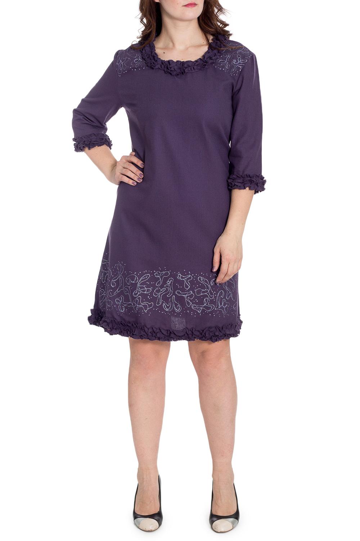 ПлатьеПлатья<br>Хлопковое платье с декоративными рюшами. Отличный выбор для повседневного гардероба.  В изделии использованы цвета: фиолетовый  Рост девушки-фотомодели 180 см.<br><br>Горловина: С- горловина<br>По длине: До колена<br>По материалу: Хлопок<br>По рисунку: Однотонные<br>По силуэту: Полуприталенные<br>По стилю: Повседневный стиль<br>По форме: Платье - трапеция<br>По элементам: С воланами и рюшами,С декором<br>Рукав: Рукав три четверти<br>По сезону: Осень,Весна<br>Размер : 48<br>Материал: Хлопок<br>Количество в наличии: 1