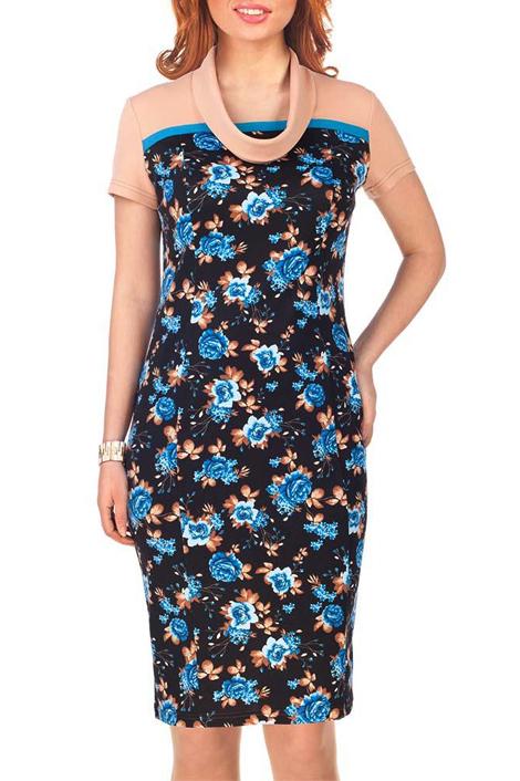 ПлатьеПлатья<br>Стильное платье прилегающего силуэта, комбинированное из трикотажных полотен – однотонных и с рисунком, длиной выше колена. Платье на кокетке, рукав втачной короткий, воротник-хомут оригинальной конструкции. Спереди рельефы.   Длина платья 99 – 103 см  Цвет: черный, бежевый, голубой  Ростовка изделия 170 см.<br><br>Горловина: С- горловина<br>По длине: До колена<br>По материалу: Вискоза,Трикотаж<br>По образу: Город,Свидание<br>По рисунку: Растительные мотивы,С принтом,Цветные,Цветочные<br>По силуэту: Приталенные<br>По стилю: Повседневный стиль<br>По форме: Платье - футляр<br>Рукав: Короткий рукав<br>По сезону: Осень,Весна<br>Размер : 44,46,48<br>Материал: Джерси<br>Количество в наличии: 8