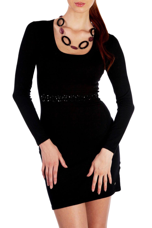 ПлатьеПлатья<br>Стильное вязаное платье с длинным рукавом и глубоким вырезом горловины, приталенного покроя, на талии модель украшена декоративными камнями.  В изделии использованы цвета: черный  Параметры размеров (обхват груди, обхват талии, обхват бедер):       42 размер - 82-85 см, 66-69 см, 92-95 см 44 размер - 86-89 см, 70-73 см, 96-98 см 46 размер - 90-93 см, 74-77 см, 99-101 см 48 размер - 94-97 см, 78-81 см, 102-104 см 50 размер - 98-102 см, 82-85 см, 105-108 см 52 размер - 103-107 см, 86-90 см, 109-112 см 54 размер - 108-113 см, 91-95 см, 113-115 см 56 размер - 112-115 см, 95-98 см, 116-118 см 58 размер - 116-119 см, 99-102 см, 119-121 см<br><br>Горловина: С- горловина<br>По длине: До колена<br>По материалу: Вискоза,Трикотаж<br>По рисунку: Однотонные<br>По сезону: Зима,Осень,Весна<br>По силуэту: Приталенные<br>По стилю: Повседневный стиль<br>По форме: Платье - футляр<br>По элементам: С декором,С отделочной фурнитурой<br>Рукав: Длинный рукав<br>Размер : 42,44,46<br>Материал: Трикотаж<br>Количество в наличии: 8