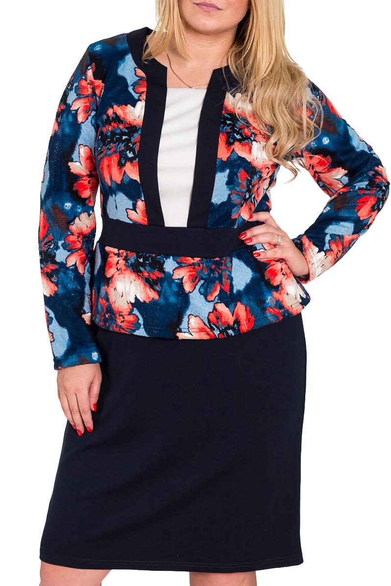 ПлатьеПлатья<br>Великолепное платье с длинными рукавами. Модель выполнена из плотного трикотажа. Отличный выбор для повседневного гардероба.  Цвет: синий, мультицвет  Рост девушки-фотомодели 170 см<br><br>По материалу: Трикотаж<br>По образу: Город,Свидание<br>По рисунку: Растительные мотивы,Цветные,Цветочные,С принтом<br>По сезону: Зима,Весна,Осень<br>По силуэту: Полуприталенные<br>По стилю: Повседневный стиль<br>По форме: Платье - футляр<br>Рукав: Длинный рукав<br>Горловина: Фигурная горловина<br>По длине: До колена<br>По элементам: С баской<br>Размер : 52,56<br>Материал: Джерси<br>Количество в наличии: 2